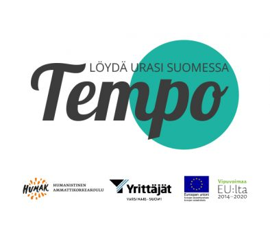 Tempo-hankkeen logo sekä rahoittajien: Humak, VS-yrittäjät, ESR ja vipuvoimaa.