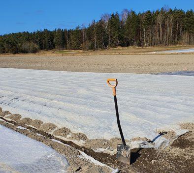 Kuvituskuva blogiin Vinkkilista maaseudun työnantajille maahan muuttaneiden rekrytoimiseksi Turun seudulta. Kuvassa pelto sekä sininen taivas. Etulaidalla kuvassa on lapio.