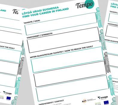 Hankkeessa tehty valmennuspolku paperi, jossa eri kysymyksiä sekä tilaa kirjoittaa vastaus.