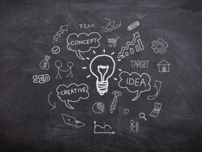 """Blogi tekstin """"""""Näin perustan yrityksen Suomessa"""" – opintojaksoa"""" kuvituskuva. Kuvassa liitutaulu, johon piirretty hehkulamppu sekä tekstejä kuten """"luovuus, idea, toteutus""""."""